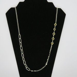 """24"""" Silver Tone Chain Faceted Beaded Necklace"""